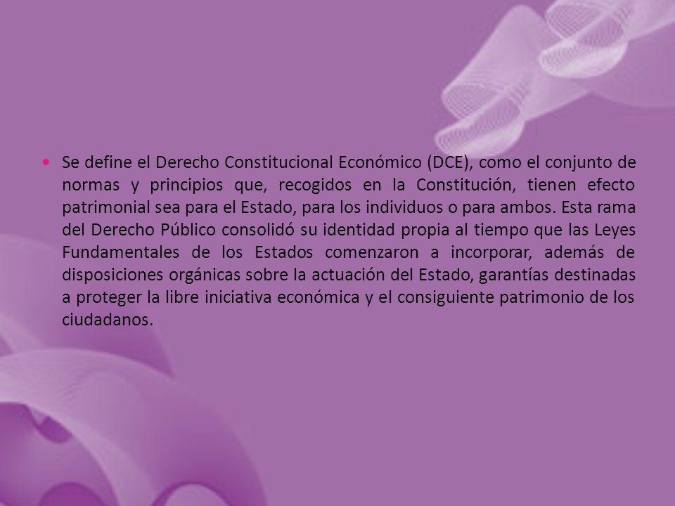 Se define el Derecho Constitucional Económico (DCE), como el conjunto de normas y principios que, recogidos en la Constitución, tienen efecto patrimonial sea para el Estado, para los individuos o para ambos.