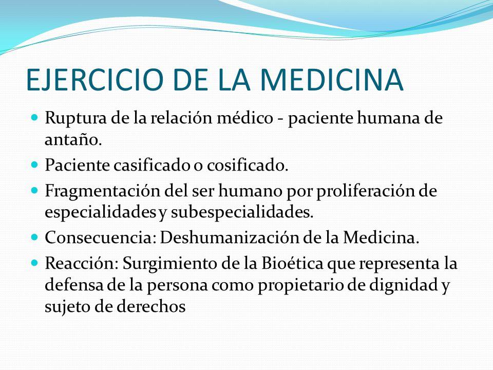 EJERCICIO DE LA MEDICINA Ruptura de la relación médico - paciente humana de antaño.
