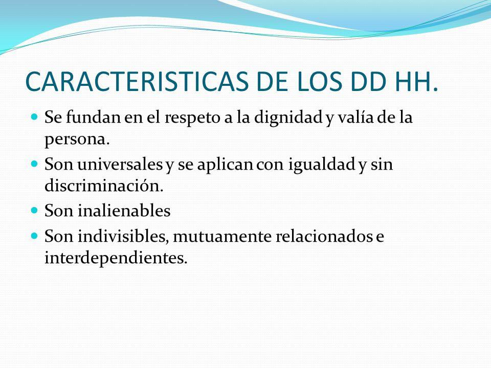 CARACTERISTICAS DE LOS DD HH. Se fundan en el respeto a la dignidad y valía de la persona.
