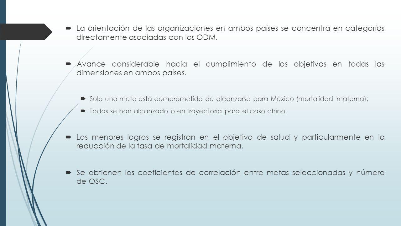  La orientación de las organizaciones en ambos países se concentra en categorías directamente asociadas con los ODM.