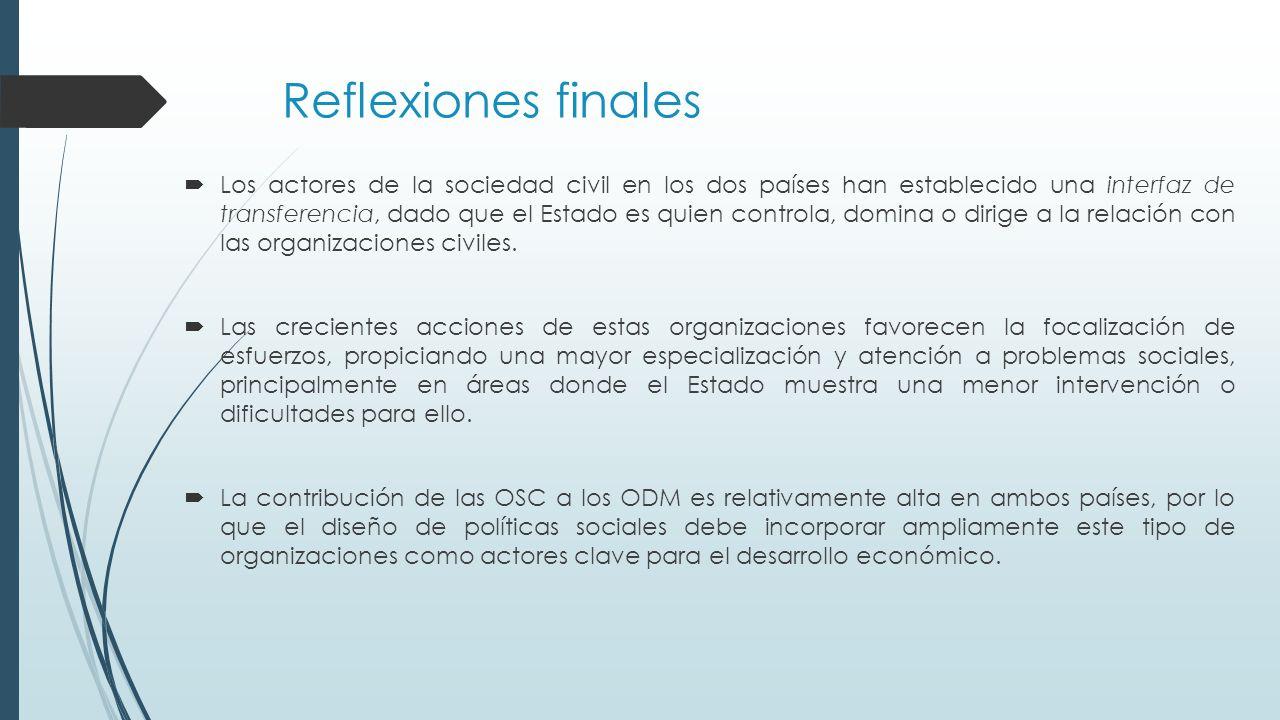 Reflexiones finales  Los actores de la sociedad civil en los dos países han establecido una interfaz de transferencia, dado que el Estado es quien controla, domina o dirige a la relación con las organizaciones civiles.