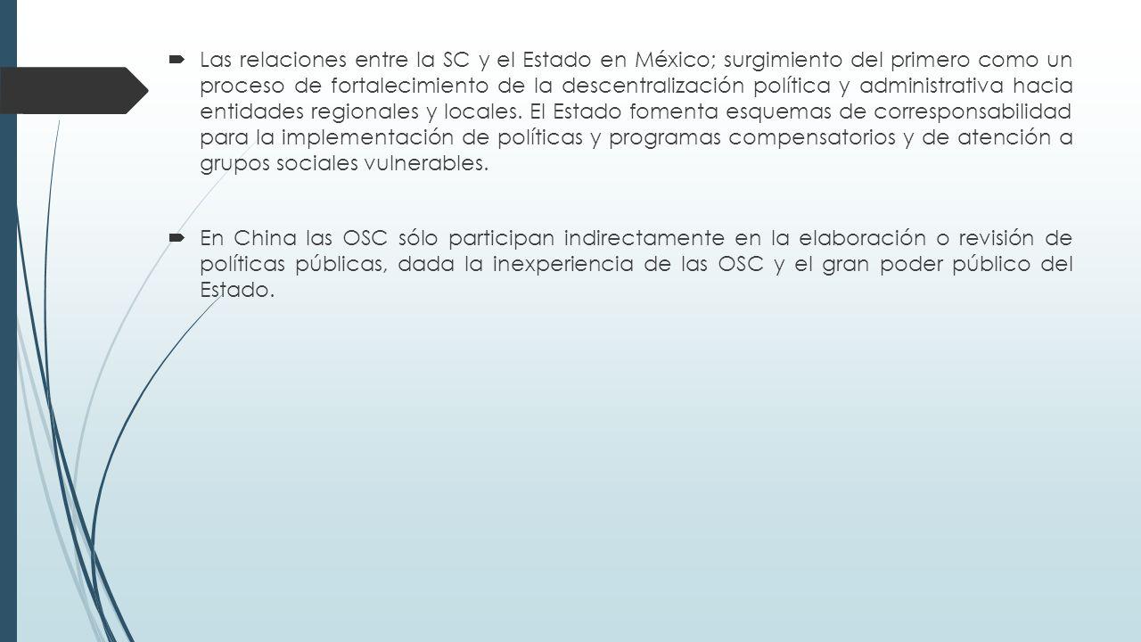  Las relaciones entre la SC y el Estado en México; surgimiento del primero como un proceso de fortalecimiento de la descentralización política y administrativa hacia entidades regionales y locales.