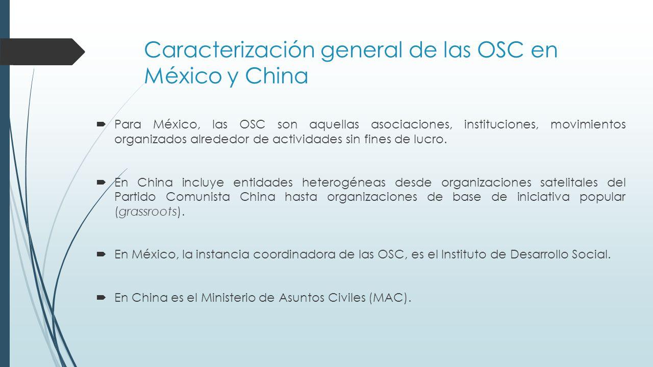 Caracterización general de las OSC en México y China  Para México, las OSC son aquellas asociaciones, instituciones, movimientos organizados alrededor de actividades sin fines de lucro.
