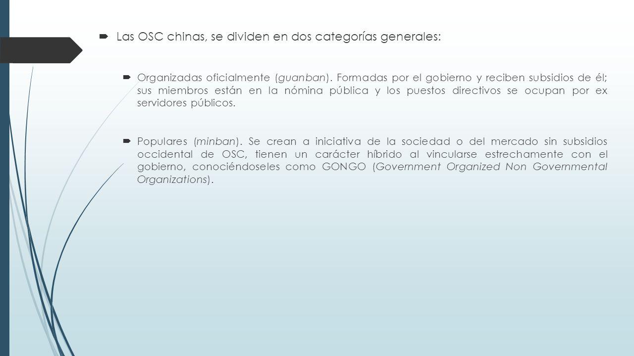  Las OSC chinas, se dividen en dos categorías generales:  Organizadas oficialmente (guanban).