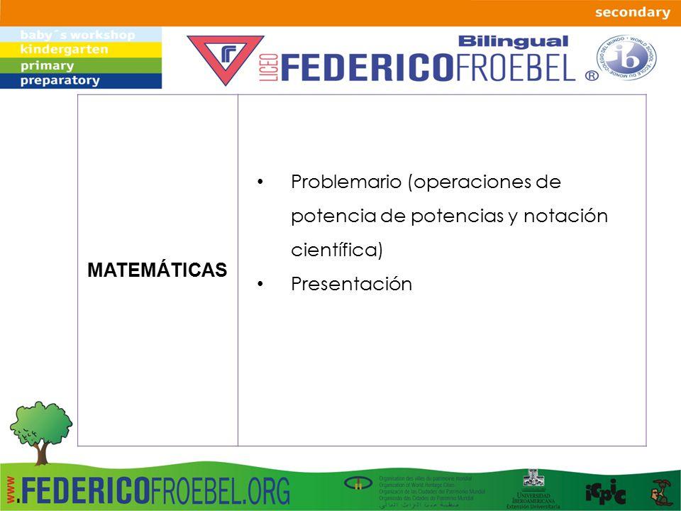 MATEMÁTICAS Problemario (operaciones de potencia de potencias y notación científica) Presentación