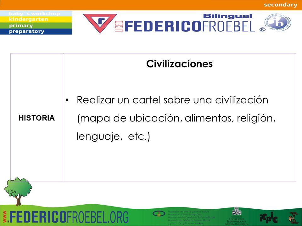 HISTORIA Civilizaciones Realizar un cartel sobre una civilización (mapa de ubicación, alimentos, religión, lenguaje, etc.)