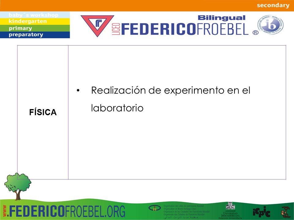 FÍSICA Realización de experimento en el laboratorio
