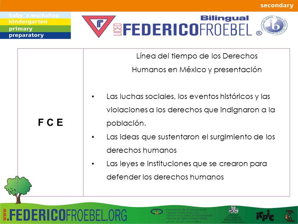 F C E Línea del tiempo de los Derechos Humanos en México y presentación Las luchas sociales, los eventos históricos y las violaciones a los derechos que indignaron a la población.