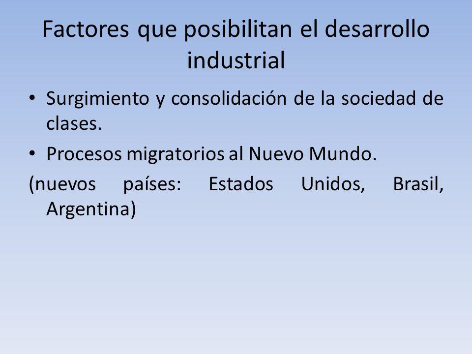 Factores que posibilitan el desarrollo industrial Surgimiento y consolidación de la sociedad de clases.