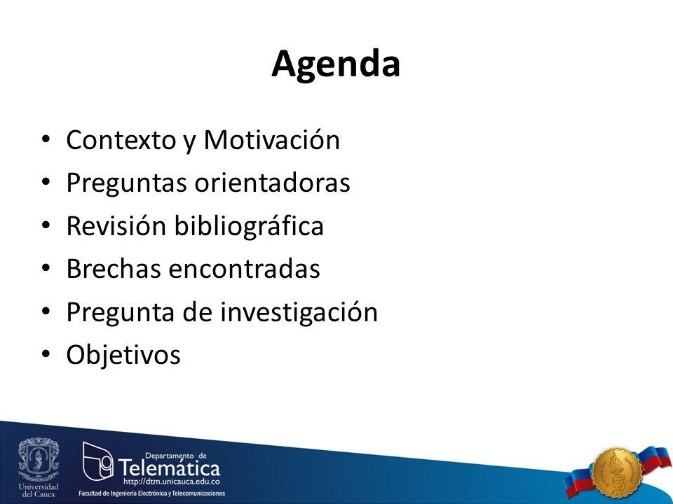 Agenda Contexto y Motivación Preguntas orientadoras Revisión bibliográfica Brechas encontradas Pregunta de investigación Objetivos