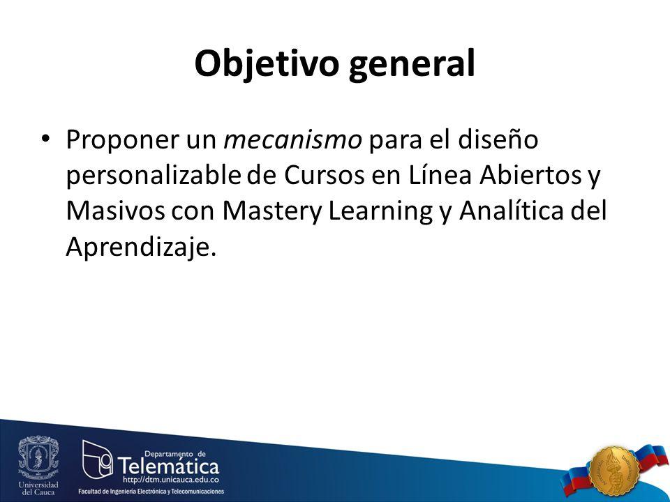 Objetivo general Proponer un mecanismo para el diseño personalizable de Cursos en Línea Abiertos y Masivos con Mastery Learning y Analítica del Aprendizaje.
