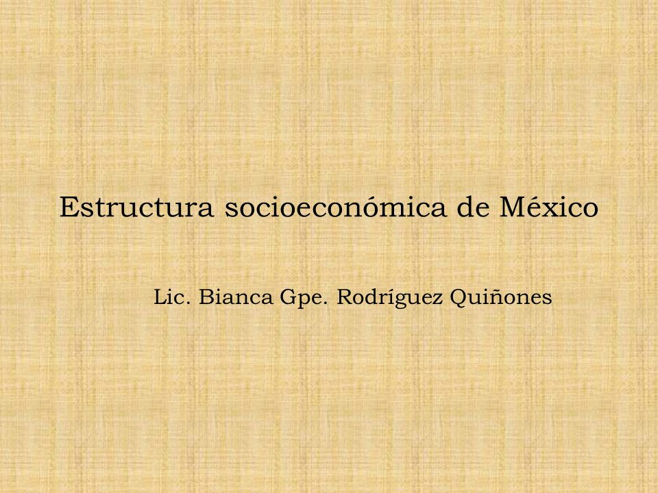 Estructura socioeconómica de México Lic. Bianca Gpe. Rodríguez Quiñones