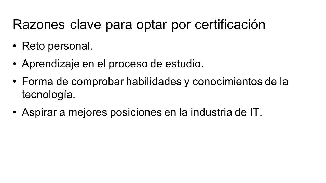Razones clave para optar por certificación Reto personal.