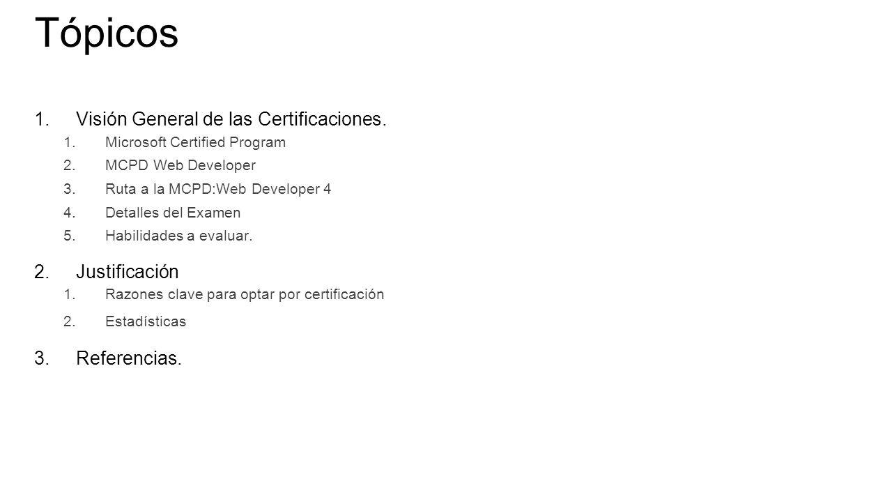 Tópicos 1.Visión General de las Certificaciones.