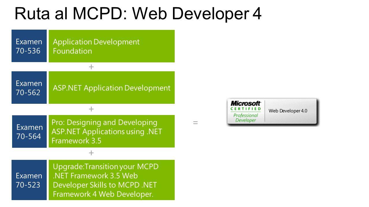 Ruta al MCPD: Web Developer 4 + + = +