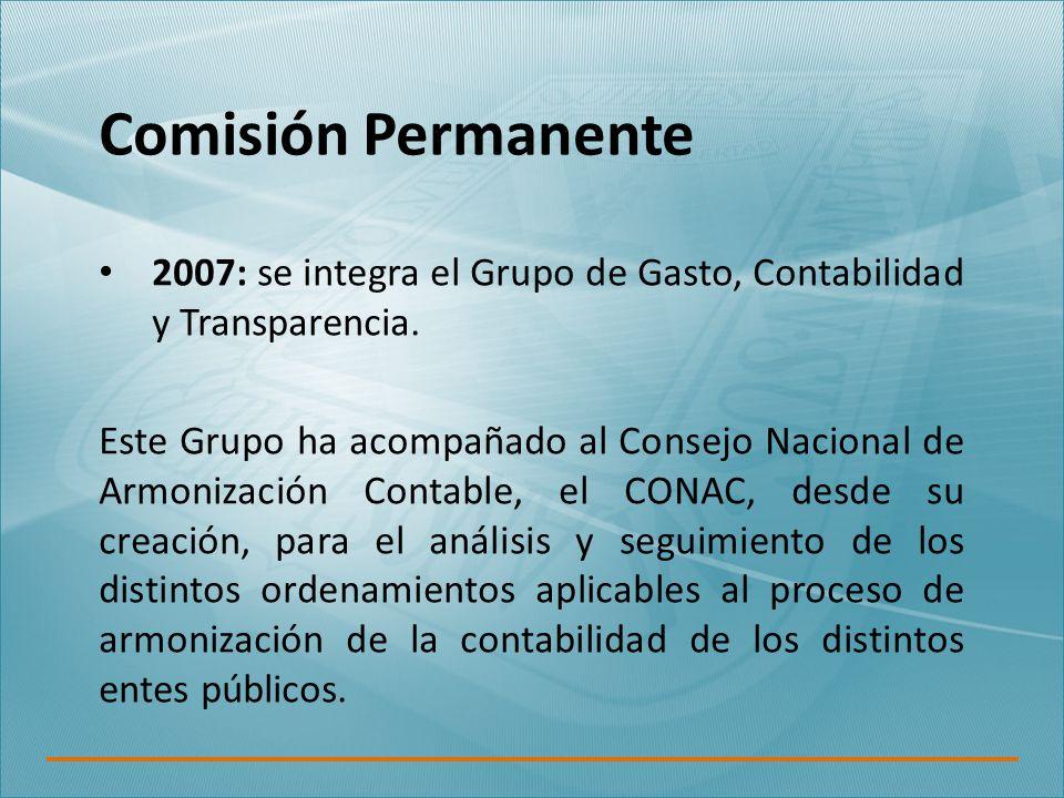 Comisión Permanente 2007: se integra el Grupo de Gasto, Contabilidad y Transparencia.