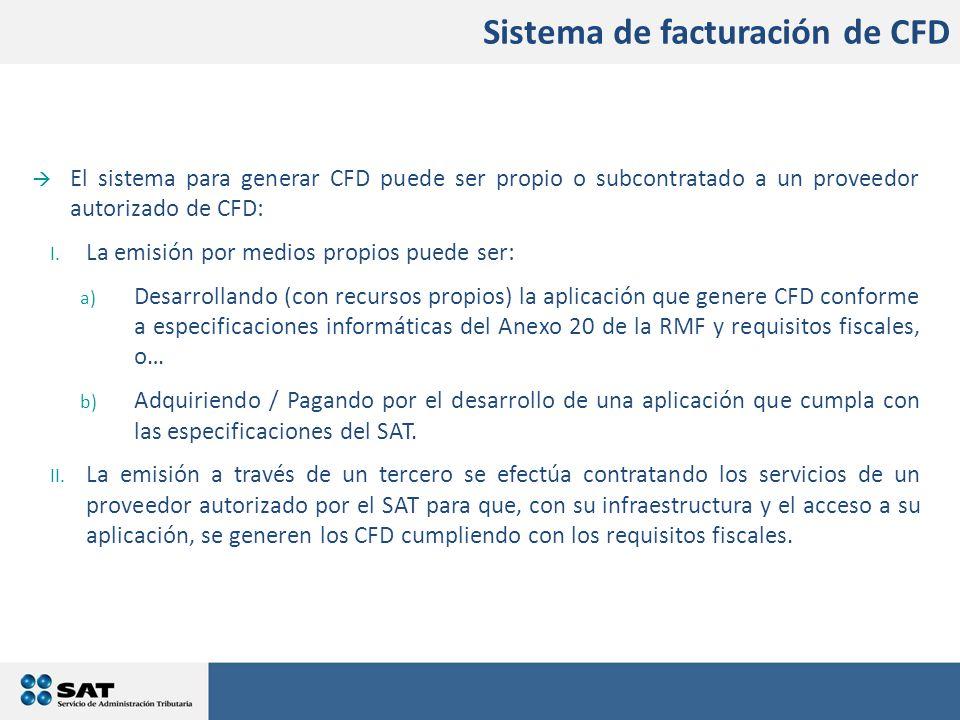  El sistema para generar CFD puede ser propio o subcontratado a un proveedor autorizado de CFD: I.