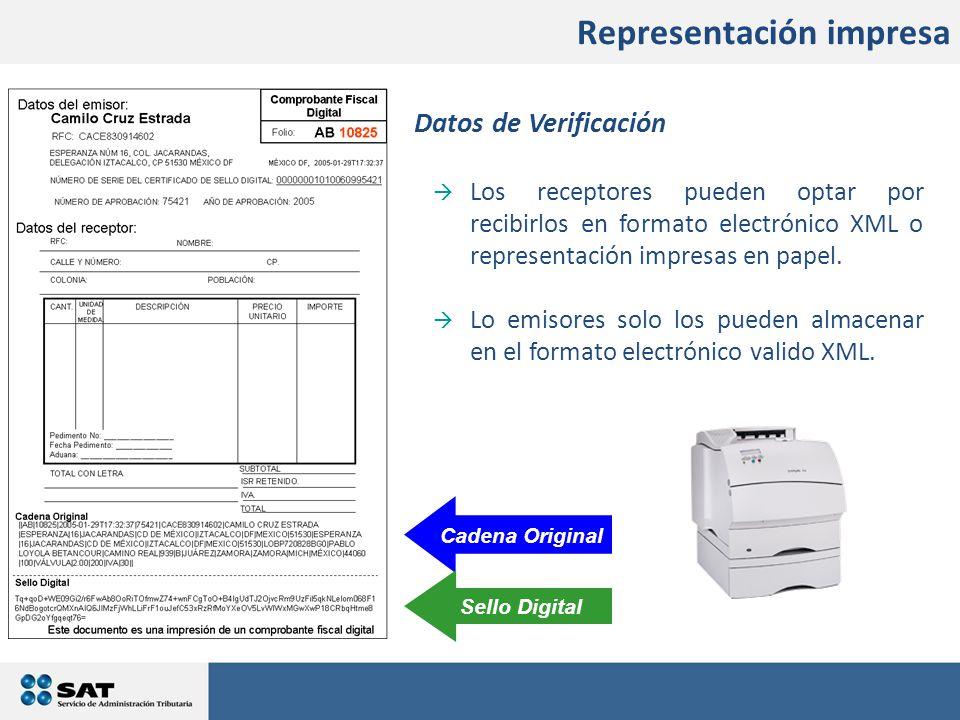 Cadena Original Sello Digital Datos de Verificación  Los receptores pueden optar por recibirlos en formato electrónico XML o representación impresas en papel.
