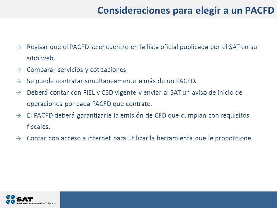  Revisar que el PACFD se encuentre en la lista oficial publicada por el SAT en su sitio web.