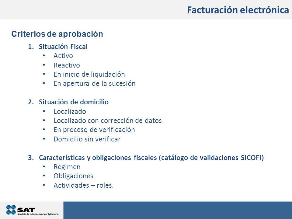 Facturación electrónica Criterios de aprobación 1.Situación Fiscal Activo Reactivo En inicio de liquidación En apertura de la sucesión 2.Situación de domicilio Localizado Localizado con corrección de datos En proceso de verificación Domicilio sin verificar 3.Características y obligaciones fiscales (catálogo de validaciones SICOFI) Régimen Obligaciones Actividades – roles.