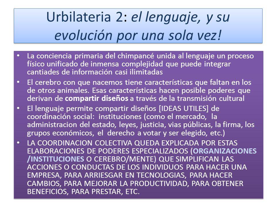 Urbilateria 2: el lenguaje, y su evolución por una sola vez.