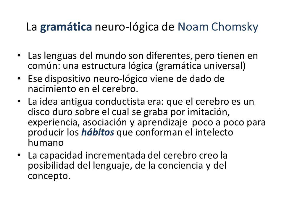 La gramática neuro-lógica de Noam Chomsky Las lenguas del mundo son diferentes, pero tienen en común: una estructura lógica (gramática universal) Ese dispositivo neuro-lógico viene de dado de nacimiento en el cerebro.