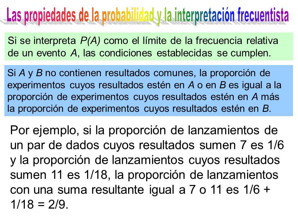 Si A y B no contienen resultados comunes, la proporción de experimentos cuyos resultados estén en A o en B es igual a la proporción de experimentos cuyos resultados estén en A más la proporción de experimentos cuyos resultados estén en B.