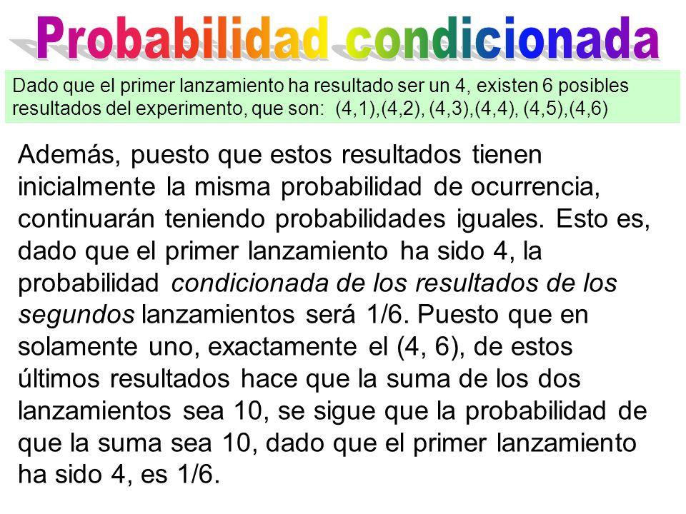Además, puesto que estos resultados tienen inicialmente la misma probabilidad de ocurrencia, continuarán teniendo probabilidades iguales.