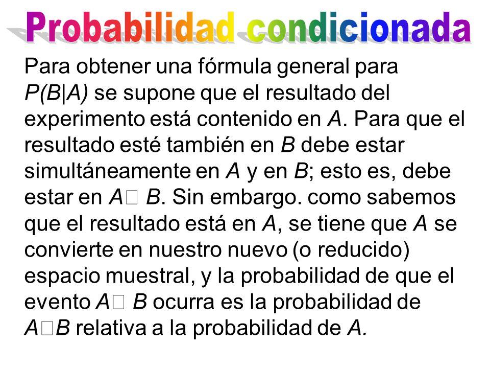 Para obtener una fórmula general para P(B|A) se supone que el resultado del experimento está contenido en A.