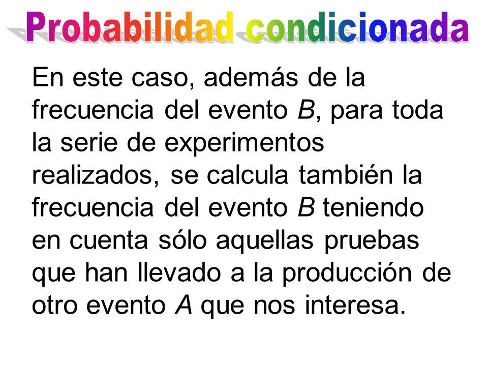 En este caso, además de la frecuencia del evento B, para toda la serie de experimentos realizados, se calcula también la frecuencia del evento B teniendo en cuenta sólo aquellas pruebas que han llevado a la producción de otro evento A que nos interesa.