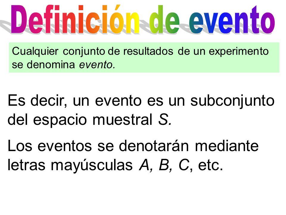Es decir, un evento es un subconjunto del espacio muestral S.