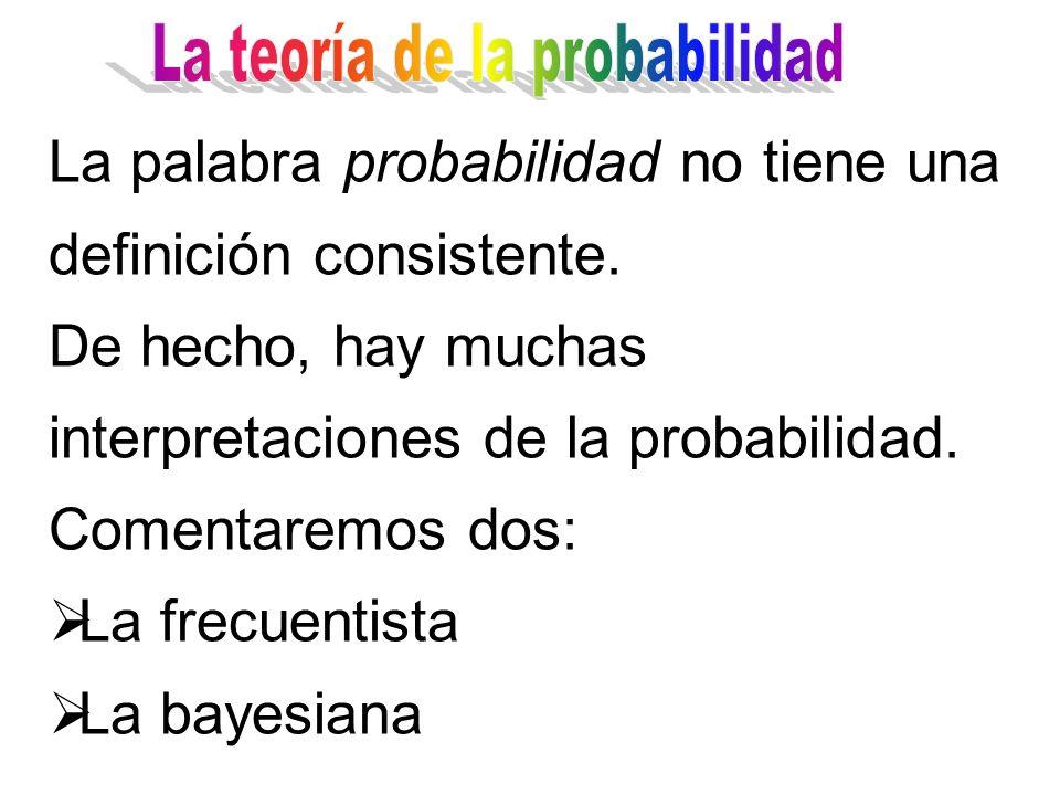 La palabra probabilidad no tiene una definición consistente.
