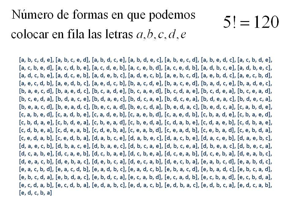 [a, b, c, d, e], [a, b, c, e, d], [a, b, d, c, e], [a, b, d, e, c], [a, b, e, c, d], [a, b, e, d, c], [a, c, b, d, e], [a, c, b, e, d], [a, c, d, b, e], [a, c, d, e, b], [a, c, e, b, d], [a, c, e, d, b], [a, d, b, c, e], [a, d, b, e, c], [a, d, c, b, e], [a, d, c, e, b], [a, d, e, b, c], [a, d, e, c, b], [a, e, b, c, d], [a, e, b, d, c], [a, e, c, b, d], [a, e, c, d, b], [a, e, d, b, c], [a, e, d, c, b], [b, a, c, d, e], [b, a, c, e, d], [b, a, d, c, e], [b, a, d, e, c], [b, a, e, c, d], [b, a, e, d, c], [b, c, a, d, e], [b, c, a, e, d], [b, c, d, a, e], [b, c, d, e, a], [b, c, e, a, d], [b, c, e, d, a], [b, d, a, c, e], [b, d, a, e, c], [b, d, c, a, e], [b, d, c, e, a], [b, d, e, a, c], [b, d, e, c, a], [b, e, a, c, d], [b, e, a, d, c], [b, e, c, a, d], [b, e, c, d, a], [b, e, d, a, c], [b, e, d, c, a], [c, a, b, d, e], [c, a, b, e, d], [c, a, d, b, e], [c, a, d, e, b], [c, a, e, b, d], [c, a, e, d, b], [c, b, a, d, e], [c, b, a, e, d], [c, b, d, a, e], [c, b, d, e, a], [c, b, e, a, d], [c, b, e, d, a], [c, d, a, b, e], [c, d, a, e, b], [c, d, b, a, e], [c, d, b, e, a], [c, d, e, a, b], [c, d, e, b, a], [c, e, a, b, d], [c, e, a, d, b], [c, e, b, a, d], [c, e, b, d, a], [c, e, d, a, b], [c, e, d, b, a], [d, a, b, c, e], [d, a, b, e, c], [d, a, c, b, e], [d, a, c, e, b], [d, a, e, b, c], [d, a, e, c, b], [d, b, a, c, e], [d, b, a, e, c], [d, b, c, a, e], [d, b, c, e, a], [d, b, e, a, c], [d, b, e, c, a], [d, c, a, b, e], [d, c, a, e, b], [d, c, b, a, e], [d, c, b, e, a], [d, c, e, a, b], [d, c, e, b, a], [d, e, a, b, c], [d, e, a, c, b], [d, e, b, a, c], [d, e, b, c, a], [d, e, c, a, b], [d, e, c, b, a], [e, a, b, c, d], [e, a, b, d, c], [e, a, c, b, d], [e, a, c, d, b], [e, a, d, b, c], [e, a, d, c, b], [e, b, a, c, d], [e, b, a, d, c], [e, b, c, a, d], [e, b, c, d, a], [e, b, d, a, c], [e, b, d, c, a], [e, c, a, b, d], [e, c, a, d, b], [e, c, b, a, d], [e, c, b, d, a], [e, c, d, a, b], [e, c, d, b, a], [e, d, a, b, c], [e, d, a, c, b], [e, d, b, a, c], [e, d, b, c