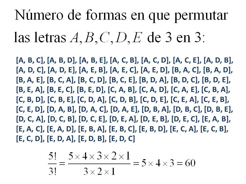 [A, B, C], [A, B, D], [A, B, E], [A, C, B], [A, C, D], [A, C, E], [A, D, B], [A, D, C], [A, D, E], [A, E, B], [A, E, C], [A, E, D], [B, A, C], [B, A, D], [B, A, E], [B, C, A], [B, C, D], [B, C, E], [B, D, A], [B, D, C], [B, D, E], [B, E, A], [B, E, C], [B, E, D], [C, A, B], [C, A, D], [C, A, E], [C, B, A], [C, B, D], [C, B, E], [C, D, A], [C, D, B], [C, D, E], [C, E, A], [C, E, B], [C, E, D], [D, A, B], [D, A, C], [D, A, E], [D, B, A], [D, B, C], [D, B, E], [D, C, A], [D, C, B], [D, C, E], [D, E, A], [D, E, B], [D, E, C], [E, A, B], [E, A, C], [E, A, D], [E, B, A], [E, B, C], [E, B, D], [E, C, A], [E, C, B], [E, C, D], [E, D, A], [E, D, B], [E, D, C]