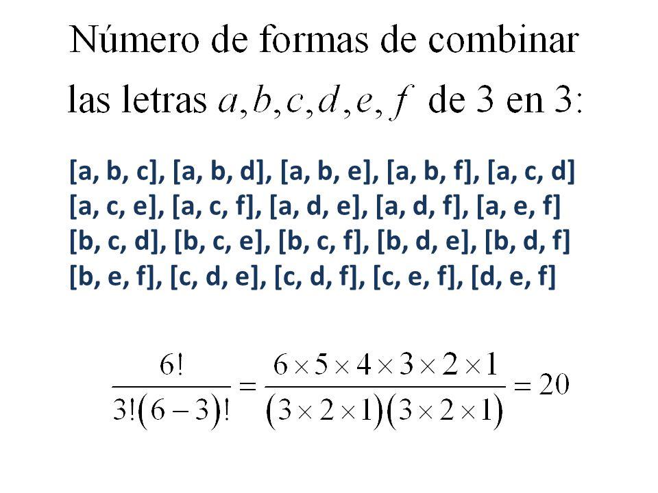 [a, b, c], [a, b, d], [a, b, e], [a, b, f], [a, c, d] [a, c, e], [a, c, f], [a, d, e], [a, d, f], [a, e, f] [b, c, d], [b, c, e], [b, c, f], [b, d, e], [b, d, f] [b, e, f], [c, d, e], [c, d, f], [c, e, f], [d, e, f]