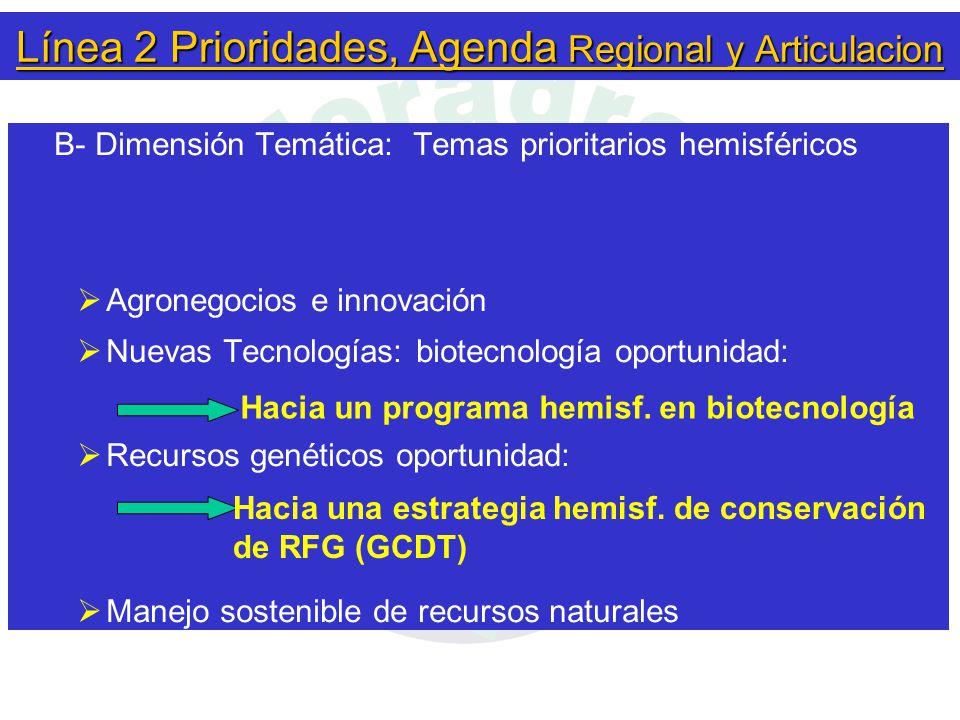 Línea 2 Prioridades, Agenda Regional y Articulacion B- Dimensión Temática: Temas prioritarios hemisféricos  Agronegocios e innovación  Nuevas Tecnologías: biotecnología oportunidad:  Recursos genéticos oportunidad:  Manejo sostenible de recursos naturales Hacia un programa hemisf.