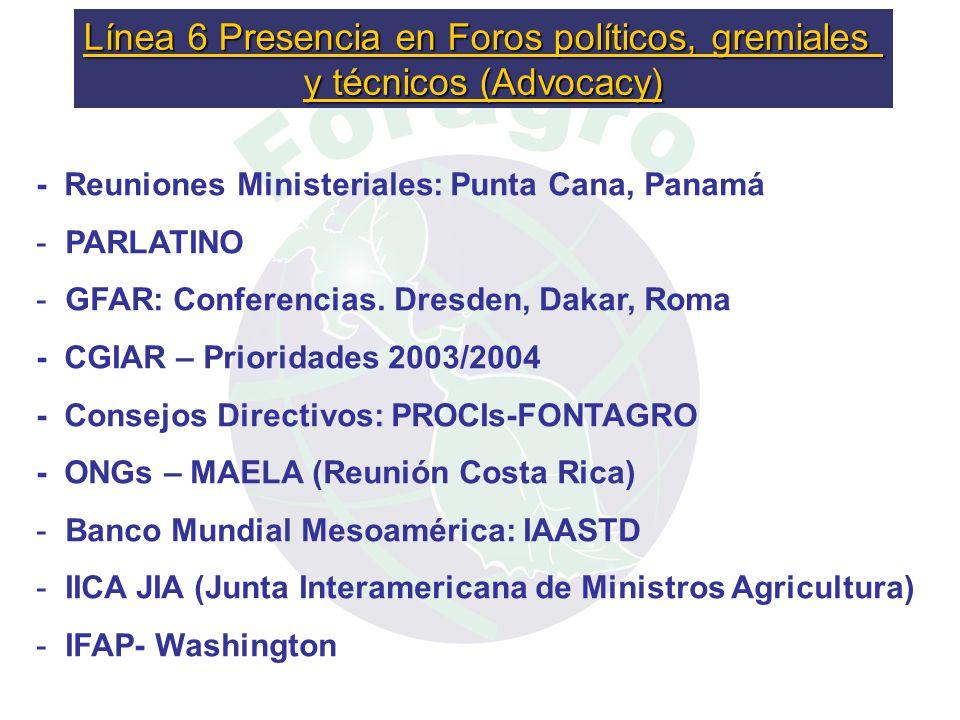 - Reuniones Ministeriales: Punta Cana, Panamá - - PARLATINO - - GFAR: Conferencias.