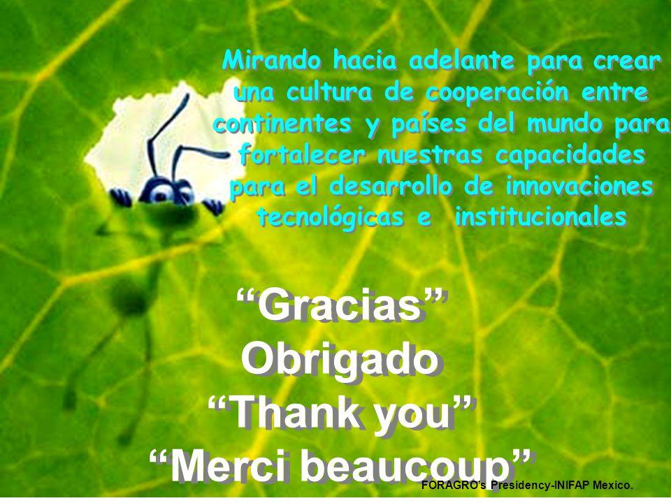 Gracias Obrigado Thank you Merci beaucoup Gracias Obrigado Thank you Merci beaucoup Mirando hacia adelante para crear una cultura de cooperación entre continentes y países del mundo para fortalecer nuestras capacidades para el desarrollo de innovaciones tecnológicas e institucionales FORAGRO's Presidency-INIFAP Mexico.