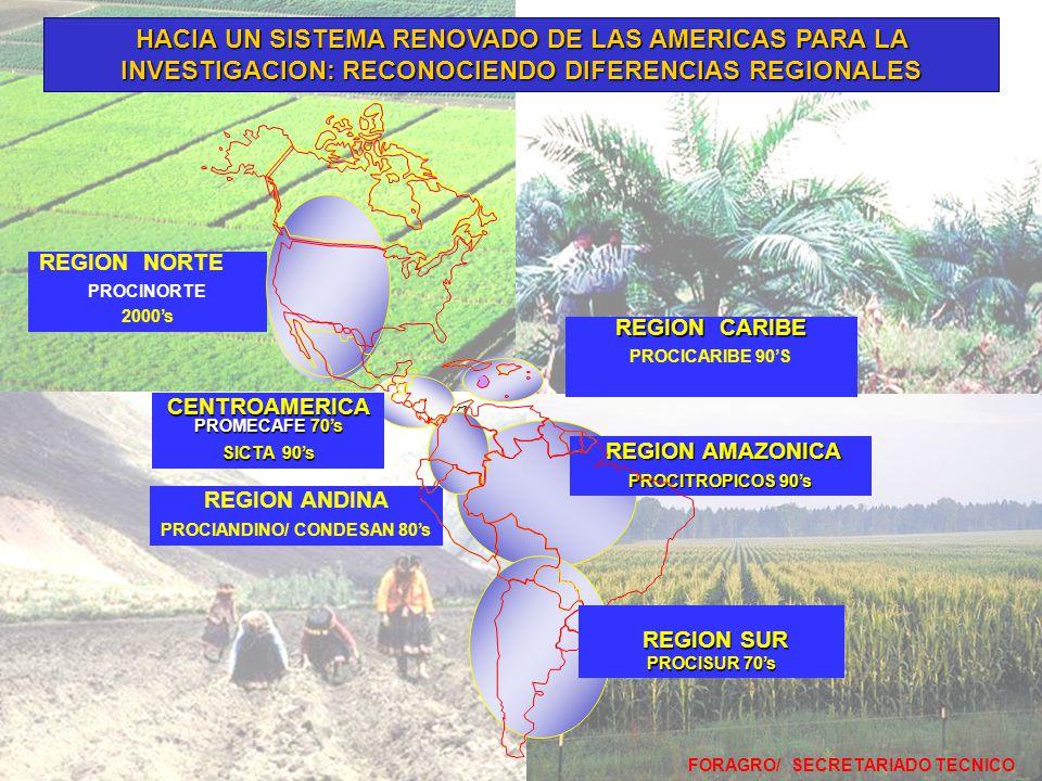 FORAGRO/ SECRETARIADO TECNICO REGION AMAZONICA REGION AMAZONICA PROCITROPICOS 90's REGION CARIBE PROCICARIBE 90'S REGION ANDINA PROCIANDINO/ CONDESAN 80's REGION NORTE PROCINORTE 2000's HACIA UN SISTEMA RENOVADO DE LAS AMERICAS PARA LA INVESTIGACION: RECONOCIENDO DIFERENCIAS REGIONALES REGION SUR REGION SUR PROCISUR 70's CENTROAMERICA PROMECAFE 70's SICTA 90's