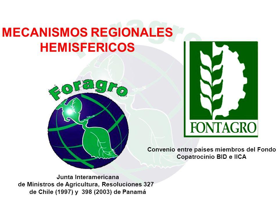 MECANISMOS REGIONALES HEMISFERICOS Junta Interamericana de Ministros de Agricultura, Resoluciones 327 de Chile (1997) y 398 (2003) de Panamá Convenio entre países miembros del Fondo Copatrocinio BID e IICA