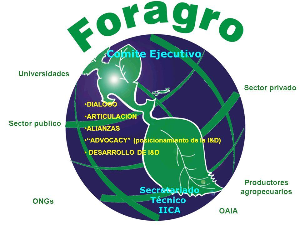 Sector publico Productores agropecuarios ONGs Universidades Sector privado OAIA DIALOGO ARTICULACION ALIANZAS ADVOCACY (posicionamiento de la I&D) DESARROLLO DE I&D Comite Ejecutivo Secretariado Técnico IICA