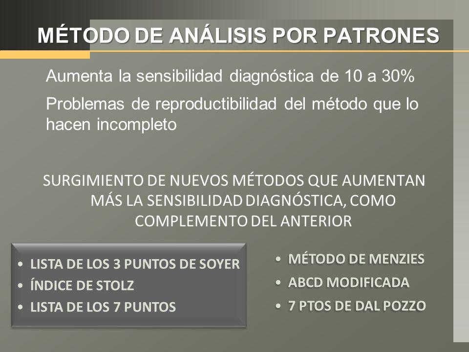 MÉTODO DE ANÁLISIS POR PATRONES Aumenta la sensibilidad diagnóstica de 10 a 30% Problemas de reproductibilidad del método que lo hacen incompleto SURGIMIENTO DE NUEVOS MÉTODOS QUE AUMENTAN MÁS LA SENSIBILIDAD DIAGNÓSTICA, COMO COMPLEMENTO DEL ANTERIOR LISTA DE LOS 3 PUNTOS DE SOYER ÍNDICE DE STOLZ LISTA DE LOS 7 PUNTOS MÉTODO DE MENZIES ABCD MODIFICADA 7 PTOS DE DAL POZZO