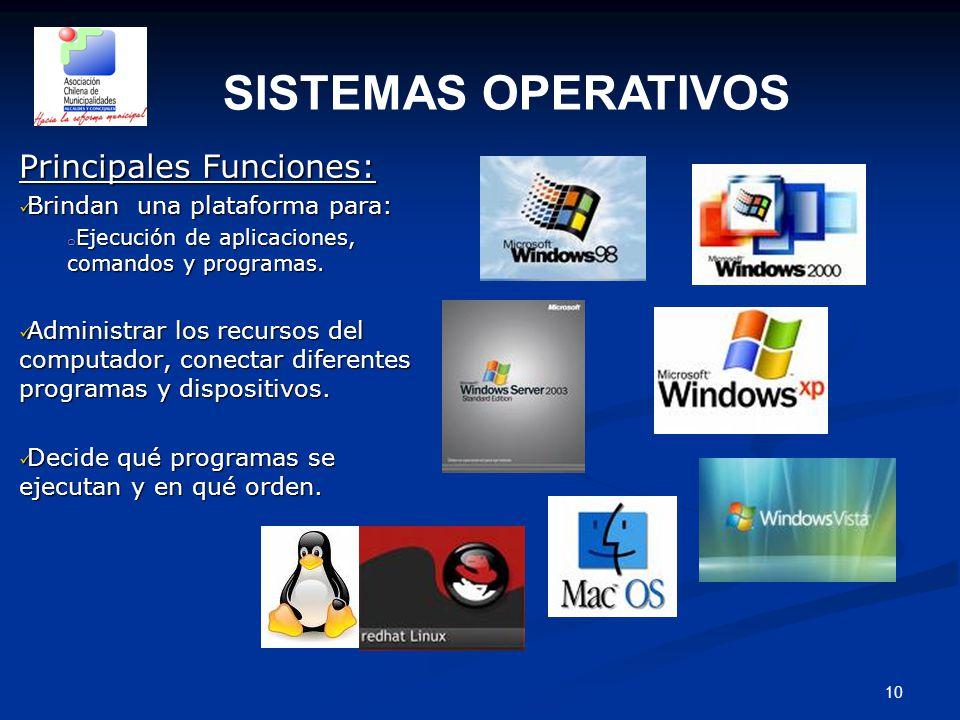 10 Principales Funciones: Brindan una plataforma para: Brindan una plataforma para: o Ejecución de aplicaciones, comandos y programas.