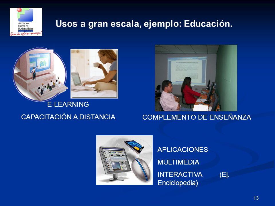 13 Usos a gran escala, ejemplo: Educación.