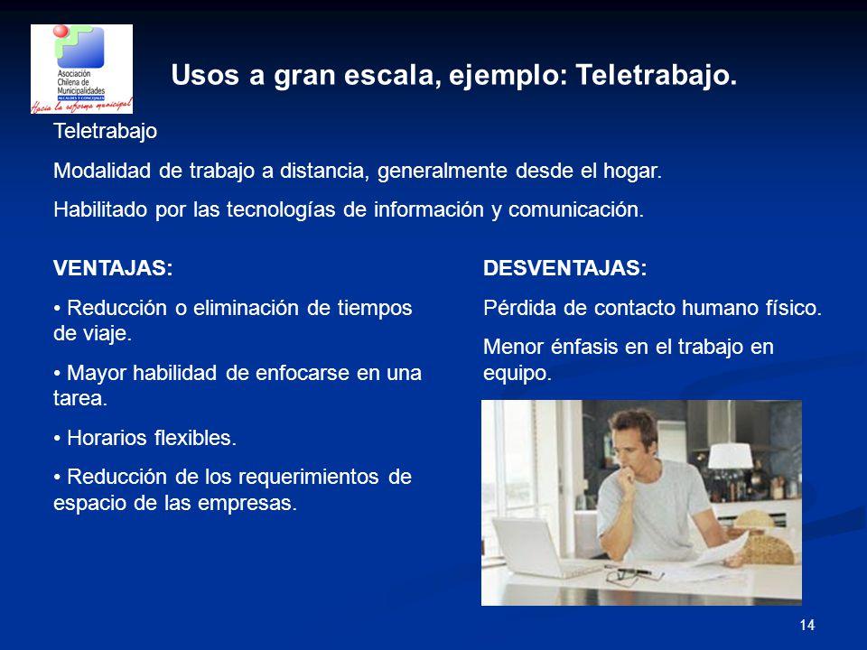 14 Usos a gran escala, ejemplo: Teletrabajo.