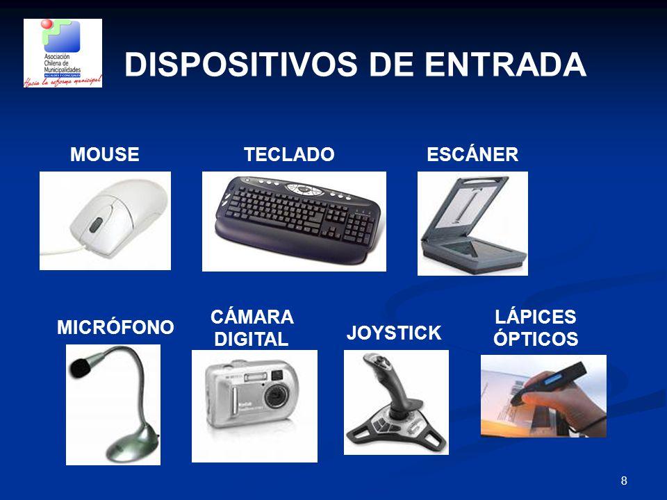 8 DISPOSITIVOS DE ENTRADA MOUSETECLADOESCÁNER LÁPICES ÓPTICOS JOYSTICK CÁMARA DIGITAL MICRÓFONO