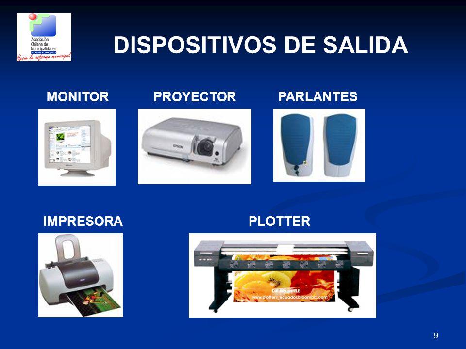 9 DISPOSITIVOS DE SALIDA MONITORPROYECTORPARLANTES IMPRESORAPLOTTER