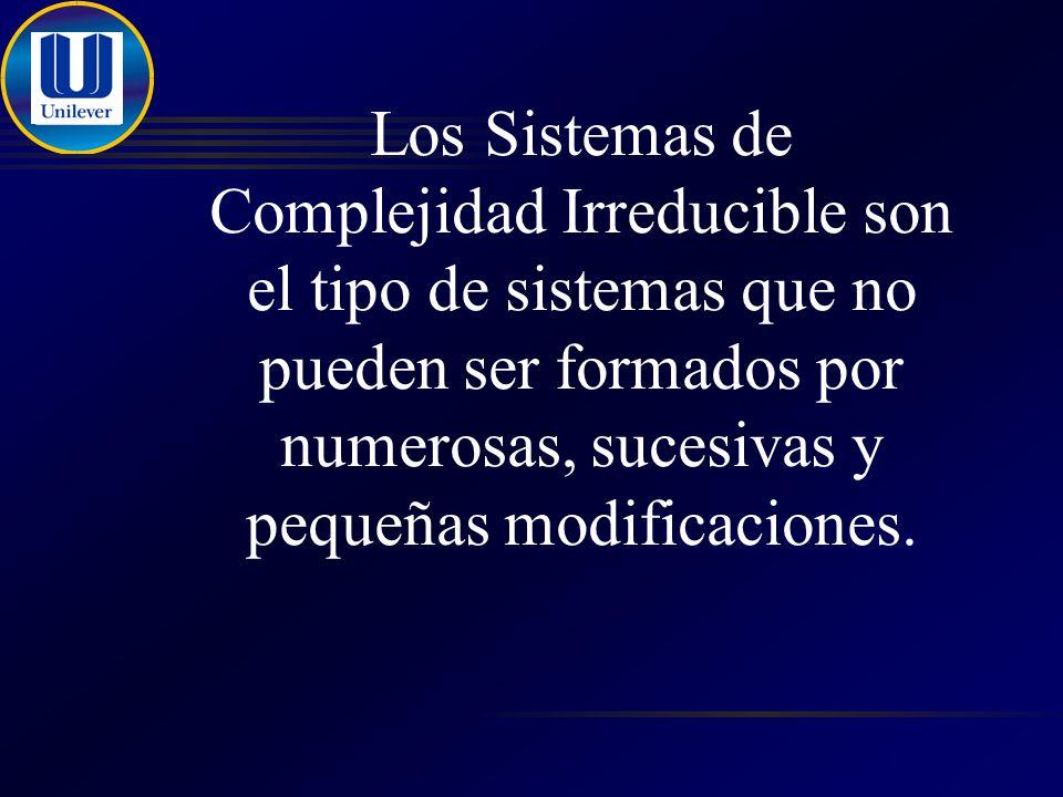 Los Sistemas de Complejidad Irreducible son el tipo de sistemas que no pueden ser formados por numerosas, sucesivas y pequeñas modificaciones.