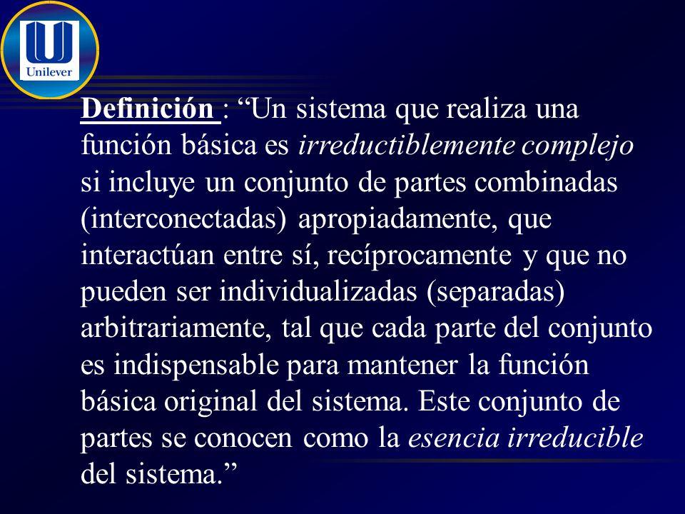 Definición : Un sistema que realiza una función básica es irreductiblemente complejo si incluye un conjunto de partes combinadas (interconectadas) apropiadamente, que interactúan entre sí, recíprocamente y que no pueden ser individualizadas (separadas) arbitrariamente, tal que cada parte del conjunto es indispensable para mantener la función básica original del sistema.
