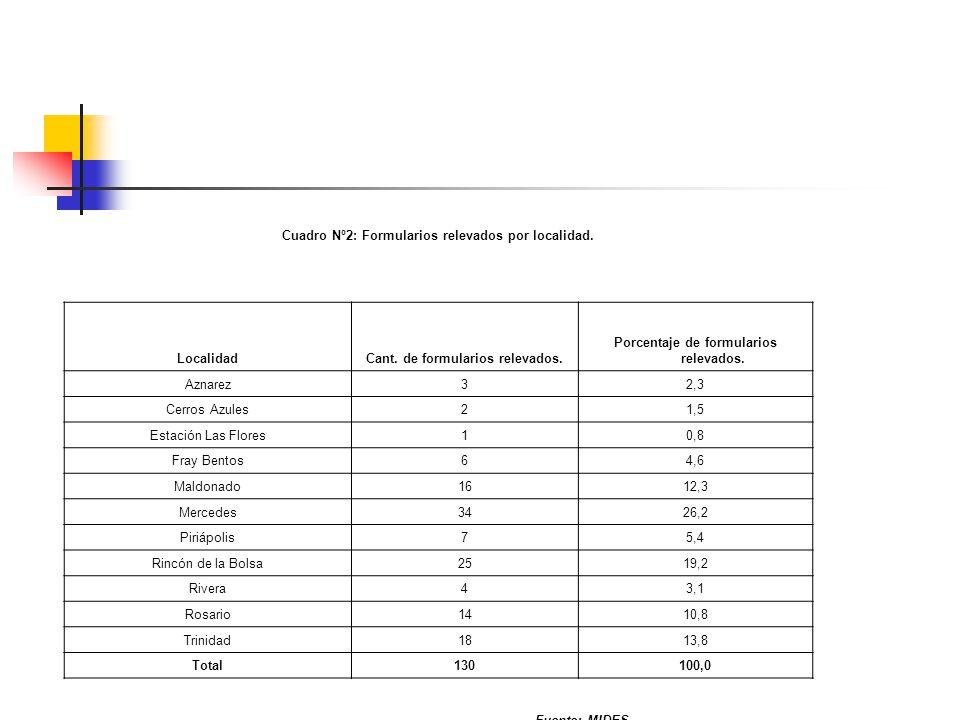 Cuadro Nº2: Formularios relevados por localidad. LocalidadCant.
